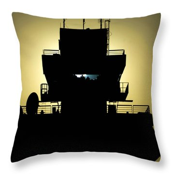 The Setting Sun Silhouettes An Air Throw Pillow by Stocktrek Images