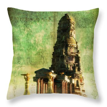 The Seven Cryptical Books Of Hsan Throw Pillow by Luca Oleastri