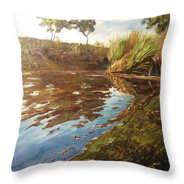 Throw Pillow featuring the painting The Seven Lakes by Ray Khalife