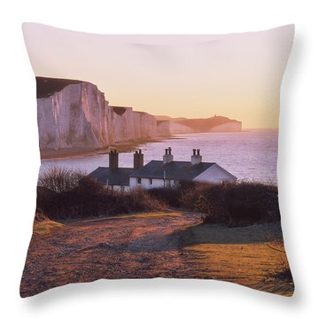 Throw Pillow featuring the photograph The Seven Sisters Cottages by Will Gudgeon