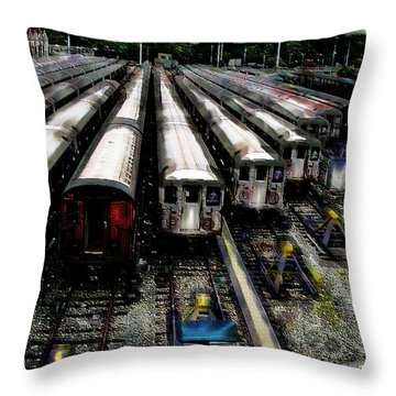 Throw Pillow featuring the photograph The Seven Train Yard Queens Ny by Iowan Stone-Flowers