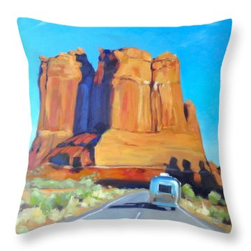 The Shadow Of The Three Gossips Arches Utah Throw Pillow