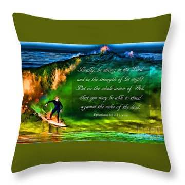Throw Pillow featuring the photograph The Shadow Within With Bible Verse by John A Rodriguez