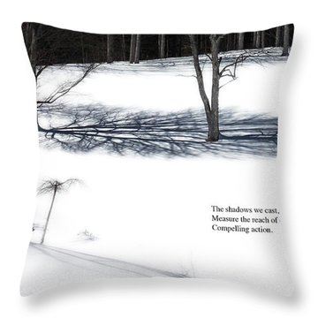 Throw Pillow featuring the photograph The Shadows We Cast Haiku by Wayne King