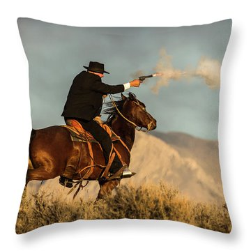 The Sharp Shooter Western Art By Kaylyn Franks Throw Pillow