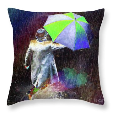 Throw Pillow featuring the photograph The Sheer Joy Of Puddles by LemonArt Photography