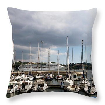 Throw Pillow featuring the photograph Ship Comes In To Belem by Lorraine Devon Wilke