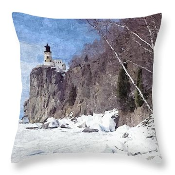 The Shoreline Lighthouse Throw Pillow