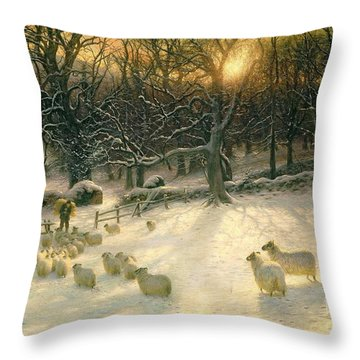 The Shortening Winters Day Is Near A Close Throw Pillow by Joseph Farquharson