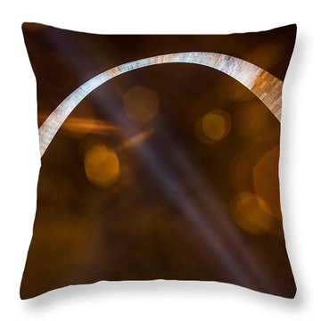 The Silver Gateway Arch Throw Pillow by Semmick Photo