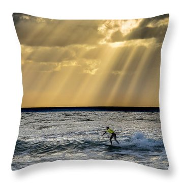 The Silver Surfer Throw Pillow by Peter Tellone