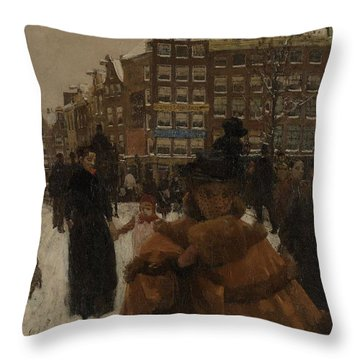 The Singel Bridge At The Paleisstraat In Amsterdam, 1896 Throw Pillow
