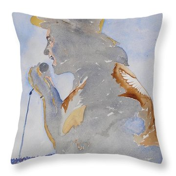 The Singer Throw Pillow by Roger Cummiskey