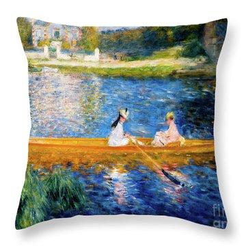 Renoir Boating On The Seine Throw Pillow