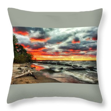The Sky On Fire At Sunset On Lake Erie Throw Pillow
