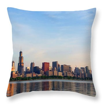 The Skyline Of Chicago At Sunrise Throw Pillow