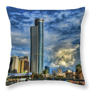 The Skyscraper And Low Clouds Dance Throw Pillow