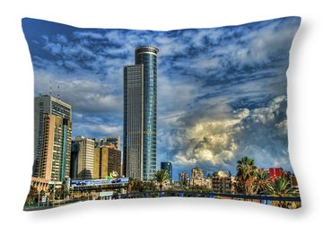 The Skyscraper And Low Clouds Dance Throw Pillow by Ron Shoshani