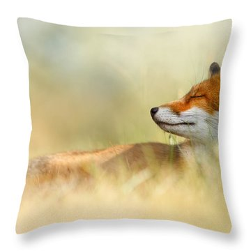 The Sleeping Beauty - Wild Red Fox Throw Pillow by Roeselien Raimond