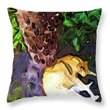 The Sleeping Cat And The Dead Tree Fern Throw Pillow