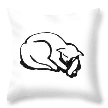 Throw Pillow featuring the drawing The Sleeping Cat by Keith A Link