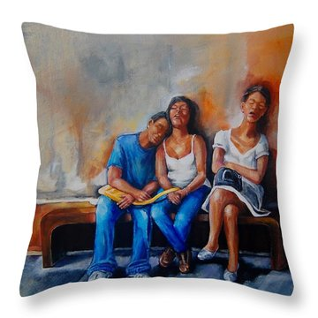 The Sleeping Tourists Throw Pillow