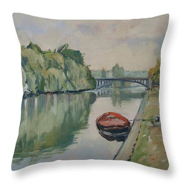 The Small Boat Along The Quai Of Halage Vise Throw Pillow