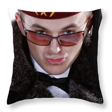 The Smarmy Russian Throw Pillow by Xn Tyler