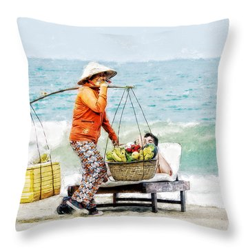 The Smiling Vendor Throw Pillow by Cameron Wood