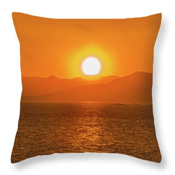 The Smoke From A Forest Fire Gave Us This Tangerine Sky Over 11-mile Reservoir State Park, Colorado. Throw Pillow