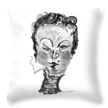 Throw Pillow featuring the mixed media The Smoker - Black And White by Marian Voicu