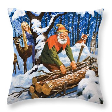 The Snow Fairy Throw Pillow