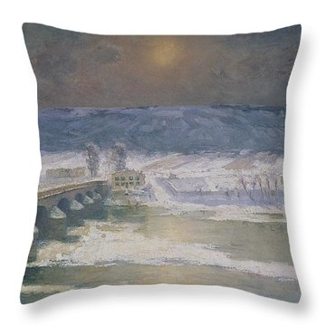 The Snow In The Auvergne Throw Pillow by Albert Charles Lebourg