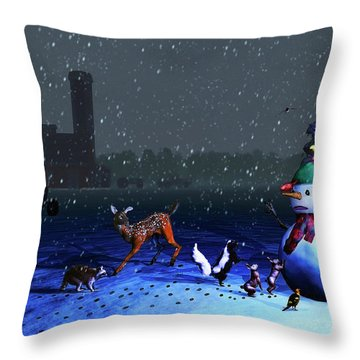 The Snowman's Visitors Throw Pillow by Ken Morris