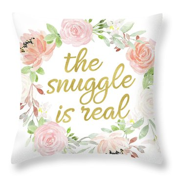 The Snuggle Is Real Wall Art Baby Girl  Nursery Pillow Boho Blush Gold Throw Pillow