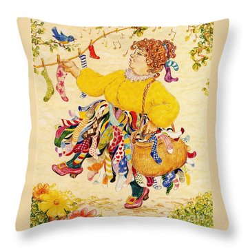The Sock Lady Throw Pillow by Dee Davis