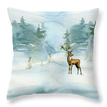 Throw Pillow featuring the digital art The Soft Arrival Of Winter by Colleen Taylor