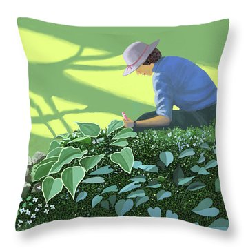 The Solace Of The Shade Garden Throw Pillow by Gary Giacomelli