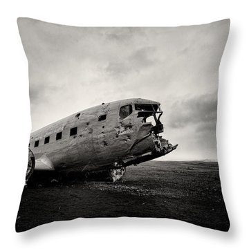 The Solheimsandur Plane Wreck Throw Pillow