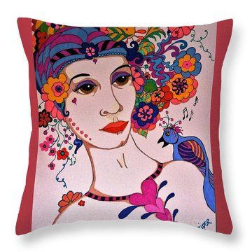 Throw Pillow featuring the painting The Songbird by Alison Caltrider