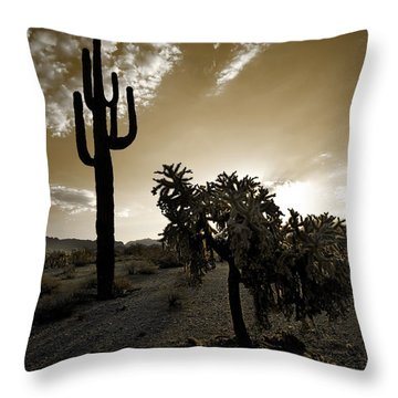 The Sonoran In Sepia Throw Pillow by Sue Cullumber
