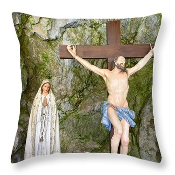 The Sorrows Of Virgin Mary Standing Under The Cross Throw Pillow