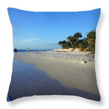 The South End Of Barefoot Beach In Naples, Fl Throw Pillow