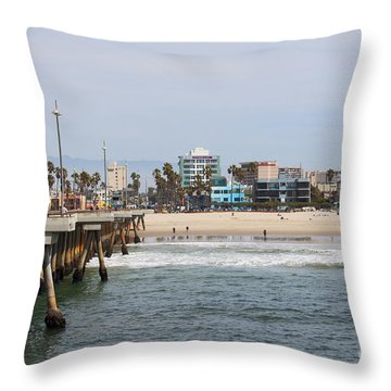 The South View Venice Beach Pier Throw Pillow by Ana V Ramirez