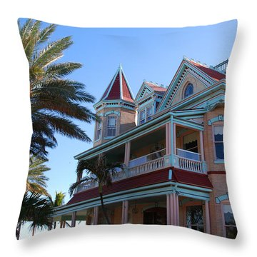 The Southernmost House In Key West Throw Pillow by Susanne Van Hulst