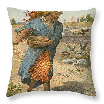 The Sower Sowing The Seed Throw Pillow by English School