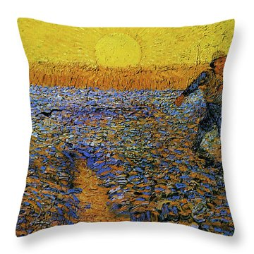 Throw Pillow featuring the painting The Sower by Van Gogh