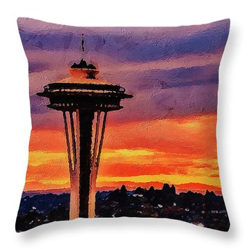 Throw Pillow featuring the digital art The Space Needle by PixBreak Art