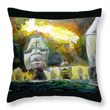 The Spanish Armada Throw Pillow