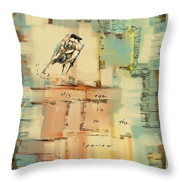 Throw Pillow featuring the mixed media The Sparrow by Carrie Joy Byrnes